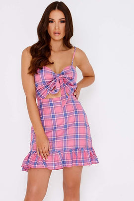 3b23331b4a03c6 Pink Dresses - Charlotte Crosby Pink Checked Tie Detail Mini Dress