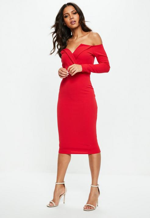 38c66c269f81 Red Bardot Foldover Wrap Midi Dress- White – Dresses247