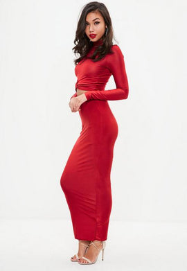Red Slinky Maxi Skirt- Red