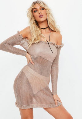Rose Gold Bardot Metallic Frill Bodycon Knitted Dress- Pink
