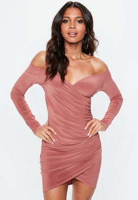 Rose Slinky Wrap Bardot Bodycon Dress- Brown