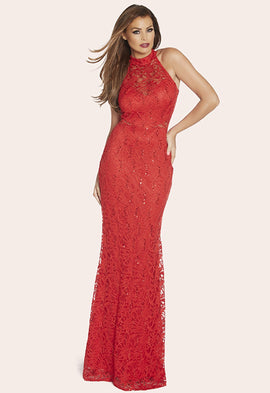 Lipstick Boutique Jessica Wright Sandy Red Sequin Halter Maxi Dress