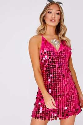 599136cfa2b4 Pink Dresses - Giorgia Hot Pink Iridescent Sequin Plunge Dress. In The Style