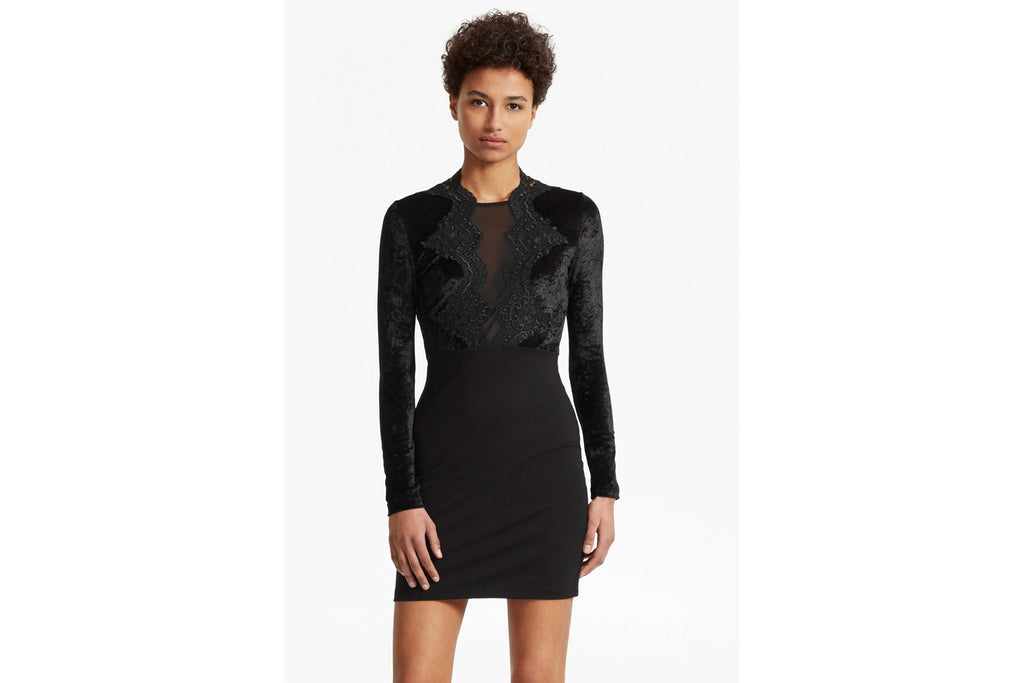 The London Velvet and Lace Dress - black