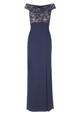 Lipstick Boutique Jessica Wright Tori Bardot Lace Maxi Dress in Navy