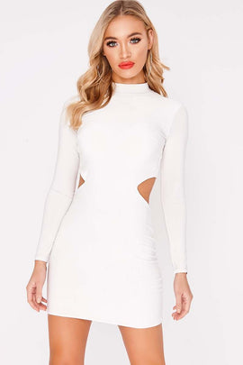 White Dresses - Charlotte Crosby White Long Sleeve Backless Dress