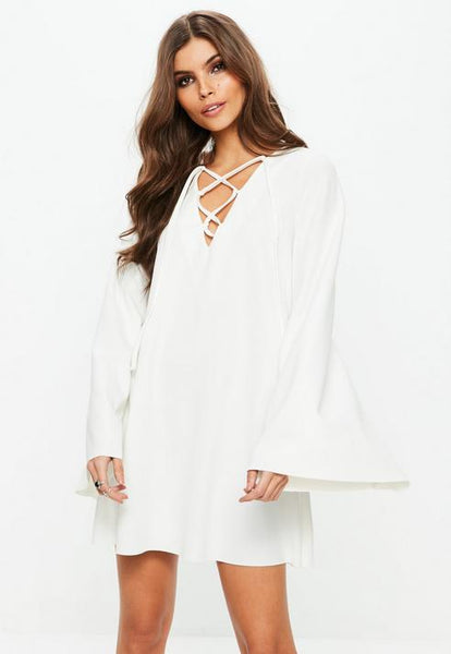 White Smock Lace Up Mini Dress- White