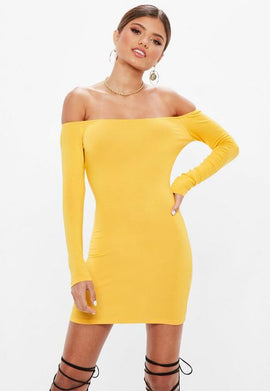 Yellow Long Sleeve Bardot Mini Dress- Yellow