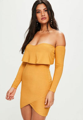 Yellow Overlay Bardot Bodycon Dress- Yellow