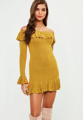 yellow polka dot frill sleeve bardot shift dress- Yellow