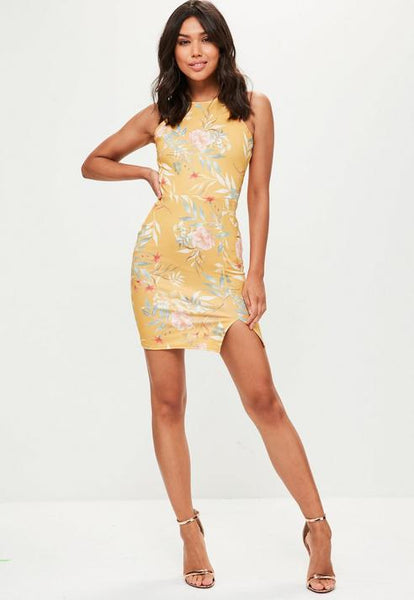 Yellow Printed 90s Neck Side Split Dress- Yellow