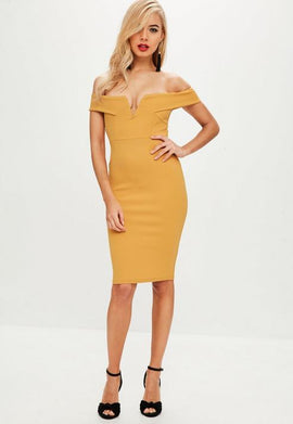 Yellow V Front Bardot Midi Dress- Yellow