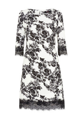 Zibi London Floral Print Lace Shift Dress