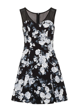 Zibi London Mesh Trim Floral Print Dress