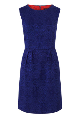 Zibi London Jacquard Fitted Dress in Navy