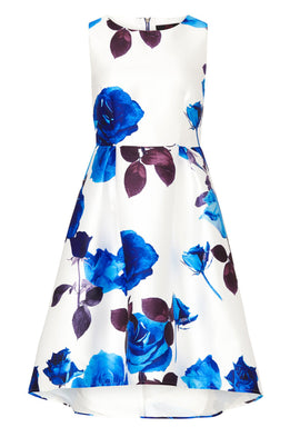 Zibi London Rose Print High Low Prom Dress