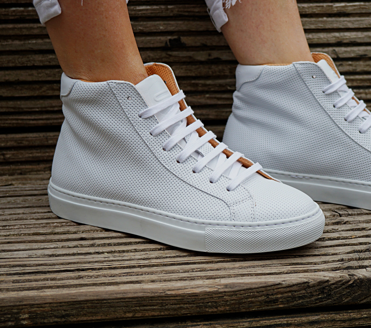 MILANO HIGH TOP - PERFO WHITE - Damen