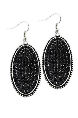 Blinged Out Oval Drop Earrings
