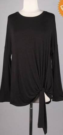 Round Neck Tie Detail Top in Black