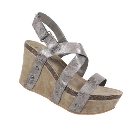 Pewter Strappy Wedge Sandals