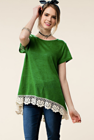 Green with Envy Floral Lace Tee