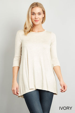3/4 Sleeve A-Line Tunic