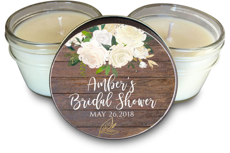 rustic barn floral candle favors