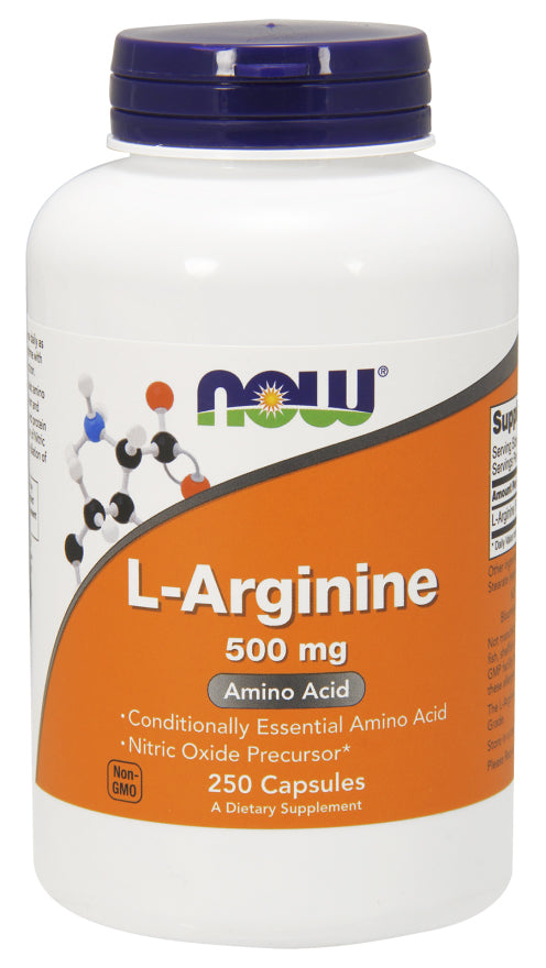 Now Foods L-Arginine 500 mg 250 Caps, Nitric Oxide No 2, Amino Acid