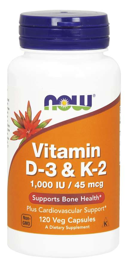 Now Foods Vitamin D 3 & K 2, 1000 IU, 120 Veg Caps