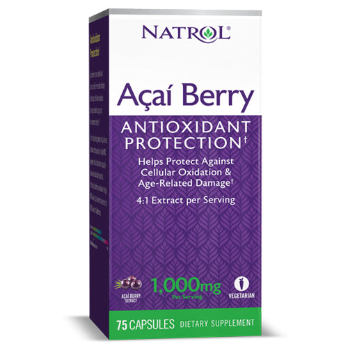 Natrol, AcaiBerry 1000mg - 75 Vegetarian Caps, Superfoods for your diet.