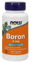 Now Foods Boron 3 mg 100 Caps, Bone Strength Calcium Magnesium Supplement