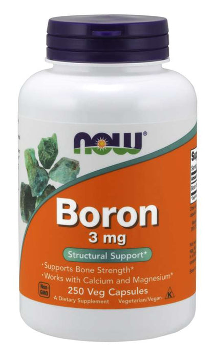 Now Foods Boron 3 mg 250 vCaps, Bone Strength Calcium Magnesium Supplement