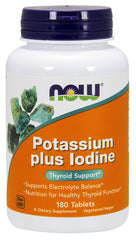Now Foods Potassium Plus Iodine 180 Tabs, Healthy Thyroid Function