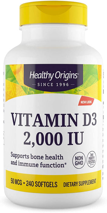 Healthy Origins - VITAMIN D3 GELS, 2,000 IU (LANOLIN), 240 GELS