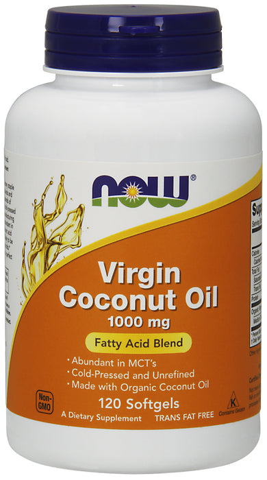 Now Foods Virgin Coconut Oil 1000 mg, 120 Softgels