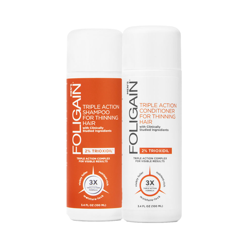 Foligain - Hair Loss Shampoo & Conditioner,Men's Travel Pack with 2% Trioxidil 2 x 100ml