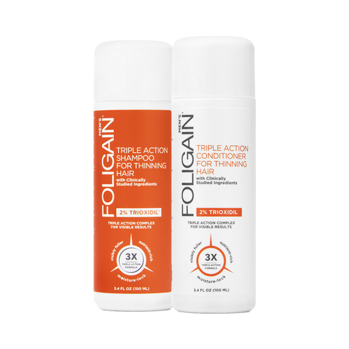 Foligain Hair Loss Shampoo & Conditioner,Men's Travel Pack with 2% Trioxidil 2 x 100ml