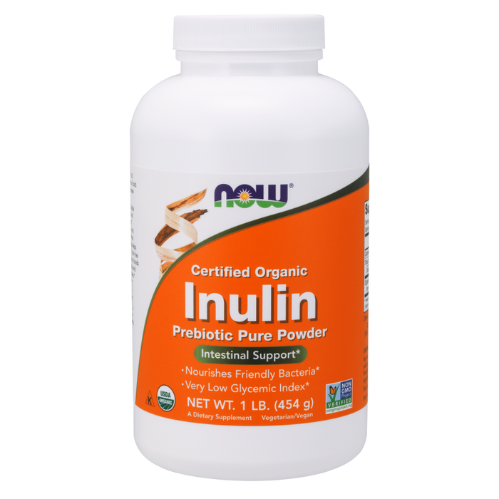Now Foods Inulin Prebiotic Pure Powder, Organic, 454g (16 oz)