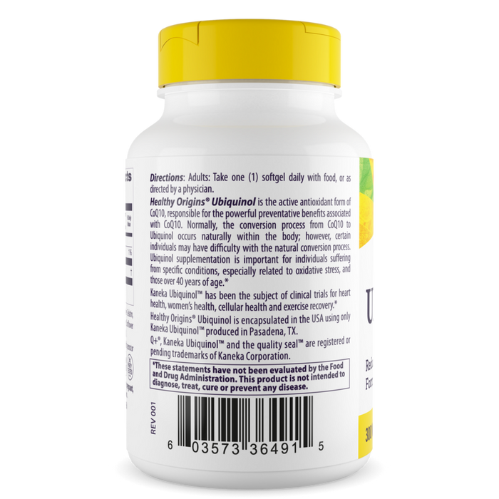 Healthy Origins - UBIQUINOL, 300MG (ACTIVE FORM OF COQ10)