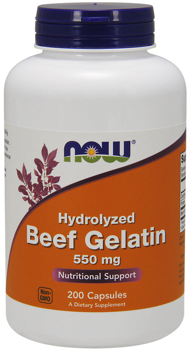 Now Foods Hydrolyzed Beef Gelatin 550 mg - 200 Caps, Protein