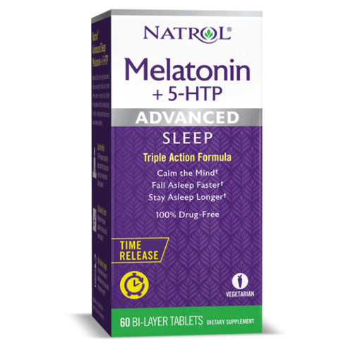Natrol Advanced Sleep Melatonin + 5-HTP, Time Release, 60 BI-Layer Tablets