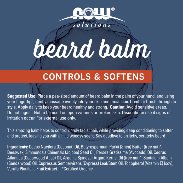 Now Foods - Beard Balm, Controls & Softens Facial Hair, 57g (2oz)