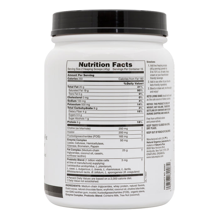 Natures Plus KetoLiving™ LCHF Chocolate Shake (675g)