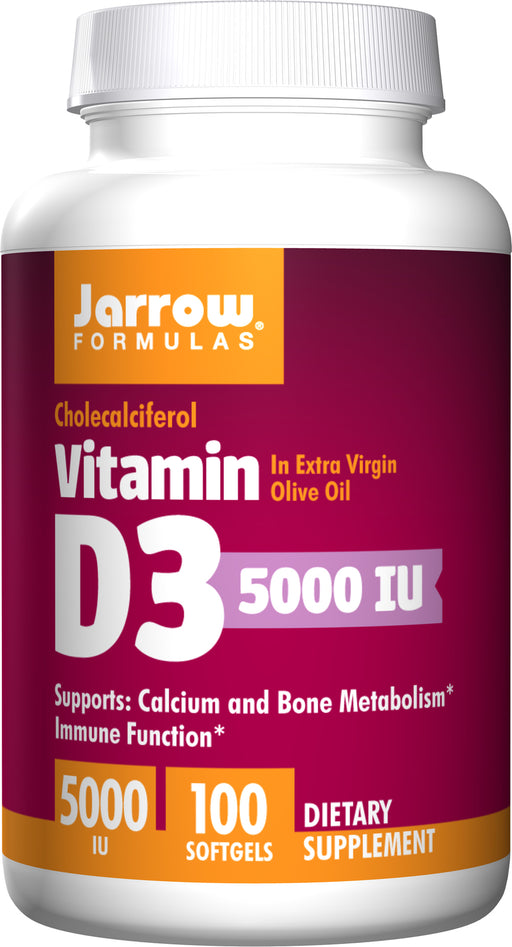 Jarrow Formulas, Vitamin D3, 5000 IU, 100 Softgels