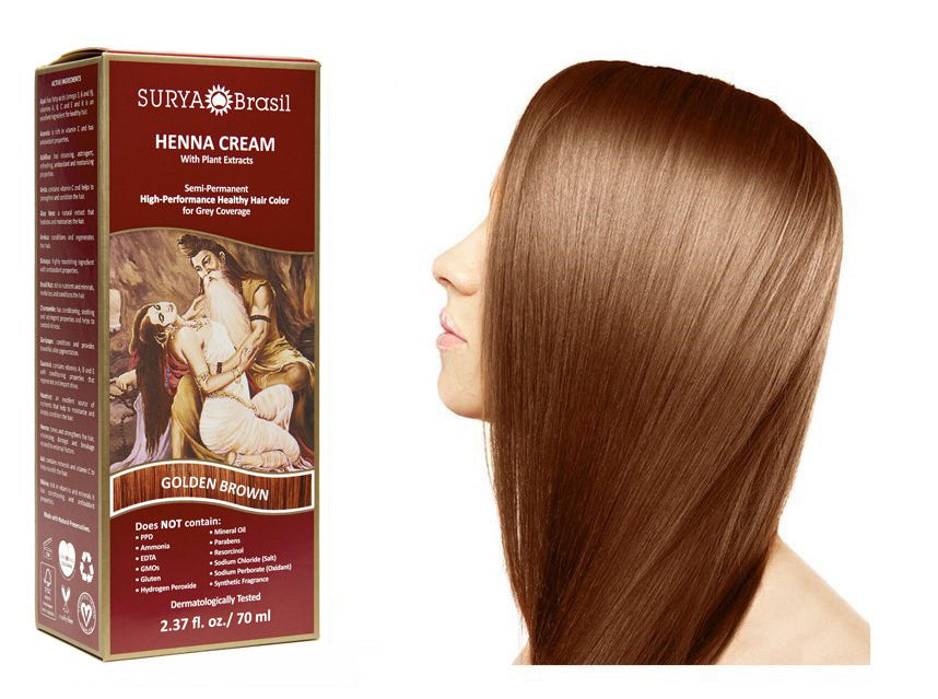 Surya Brasil Henna Cream Kit - Golden Brown 70 ml, Natural Hair Colour
