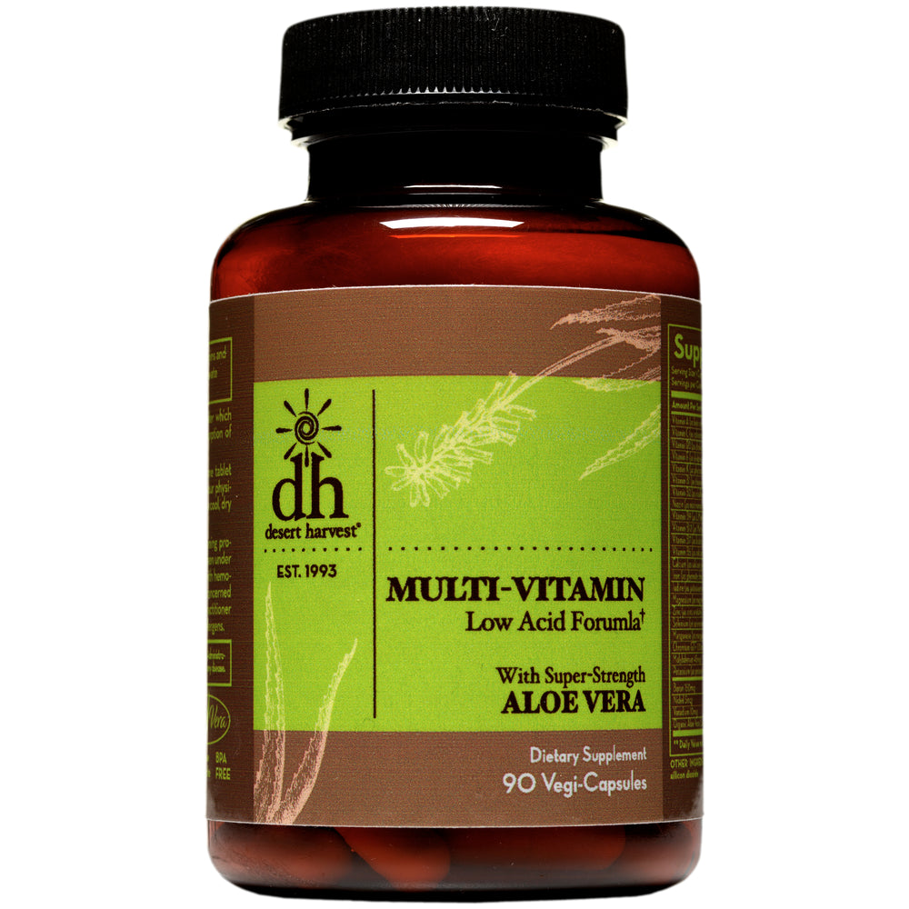 Desert Harvest Low Acid Multi-Vitamin with Super Strength Aloe Vera (90 Caps)