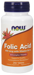 Now Foods - Folic Acid 800mcg + B-12 25mcg - Vegetarian 250 Tablets