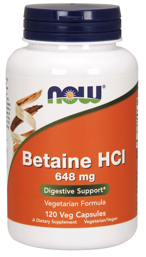 Now Foods - Betaine HCl 648 mg, 120 Caps