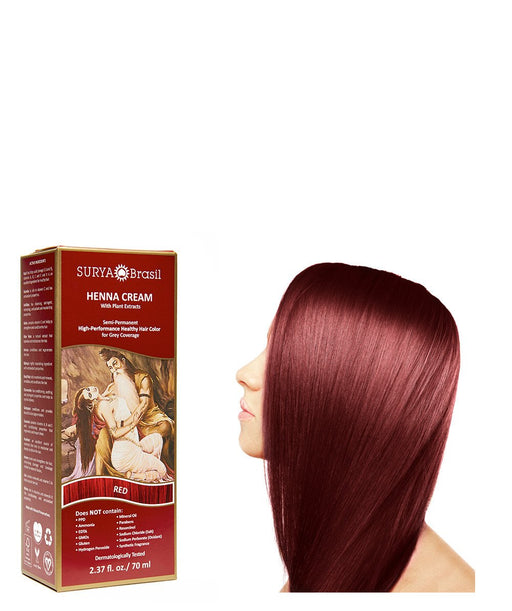 Surya Brasil Henna Cream Kit - Red 70 ml, Natural Hair Colour