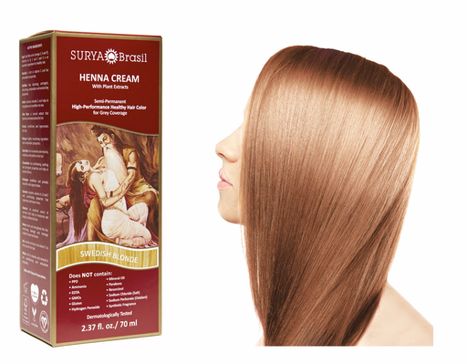 Surya Brasil Henna Cream Kit - Swedish Blonde 70 ml, Natural Hair Colour